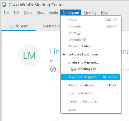 how to change my webex default assign privileges