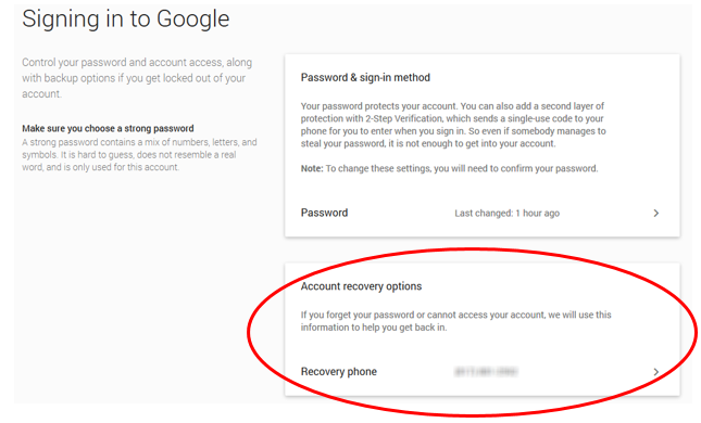 how to reset gmail password if phone number changed