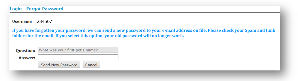 Forgot Password Message and Question