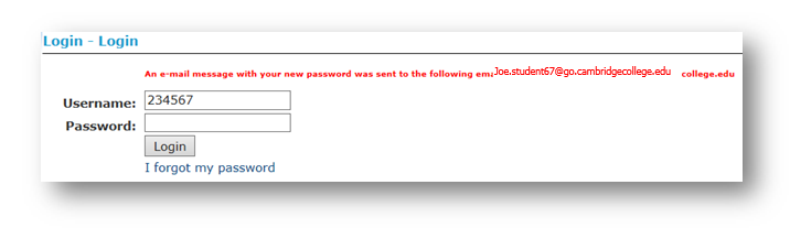 Alert that Email message with new password has been sent