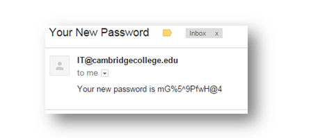 New sample password from email address