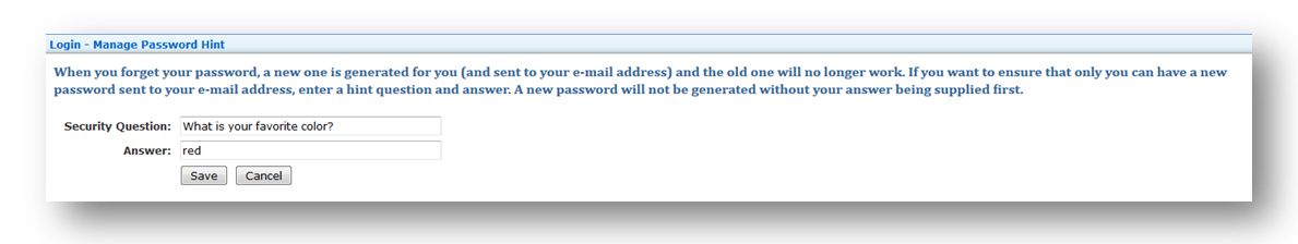 Security Question Sample Alternative to Email