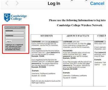 Wireless Network: Logging In | Cambridge College